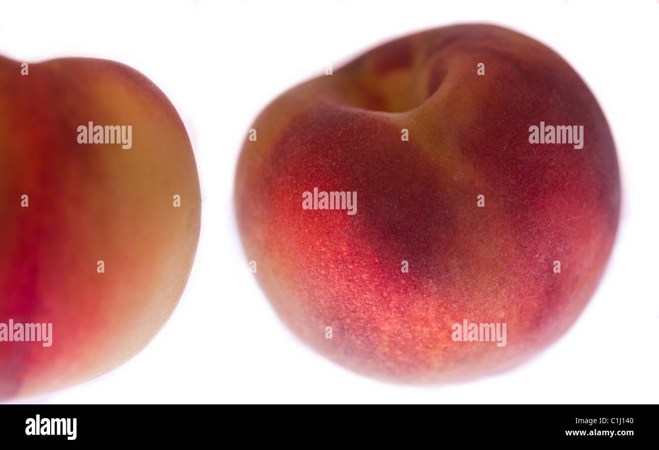 Two peaches white background - Stock Image