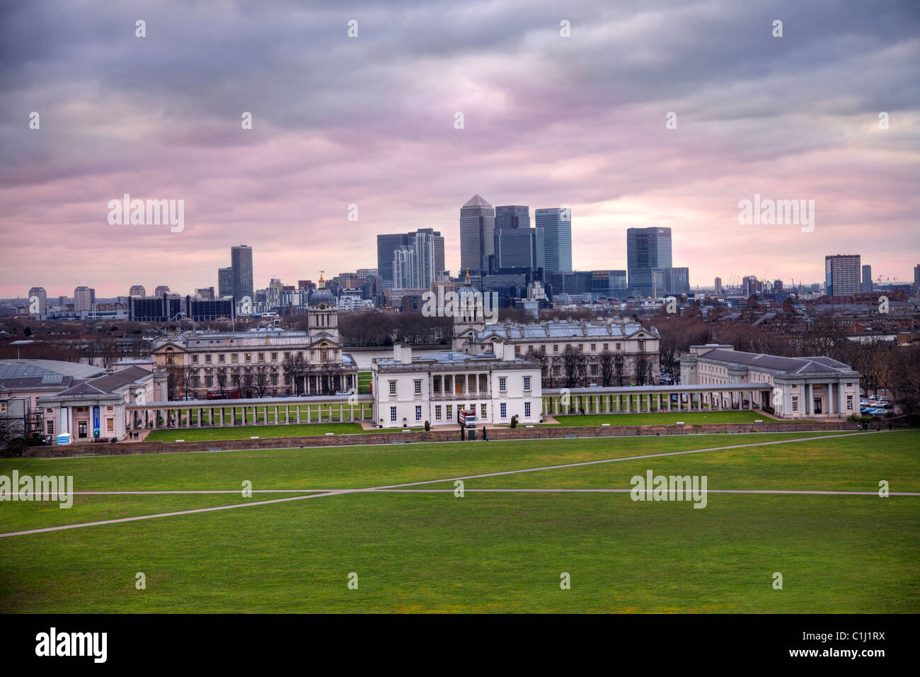 View of Docklands and Greenwich university London - Stock Image