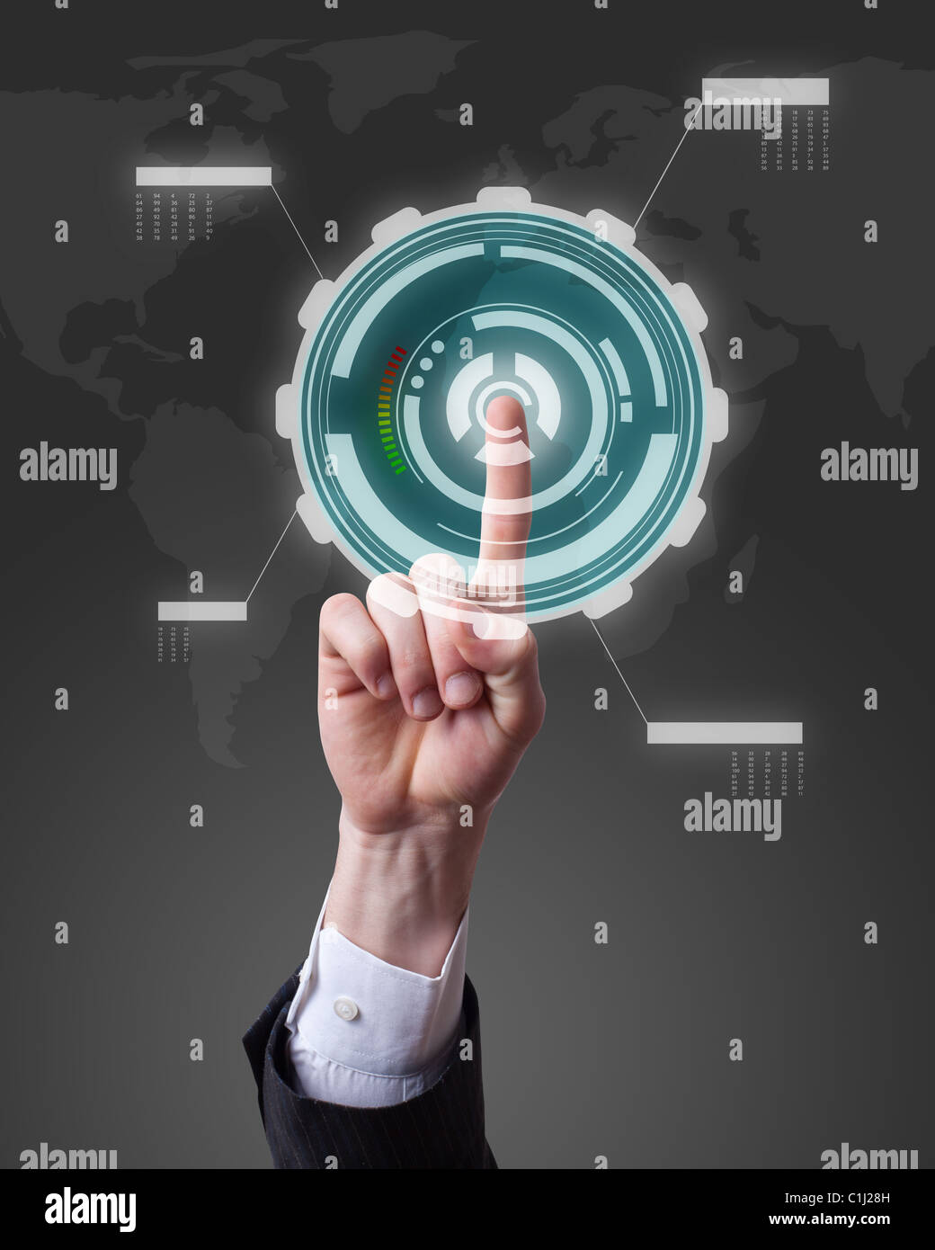 hand pushing a button on a touch screen interface - Stock Image