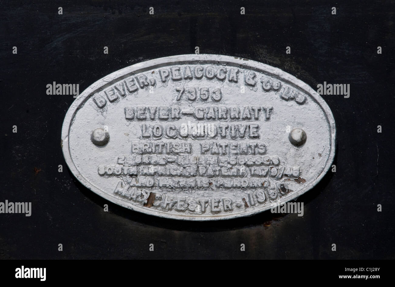 beyer-peacock and co.ltd. manchester , beyer-garratt locomotive , maker's plate  livingstone railway museum - Stock Image