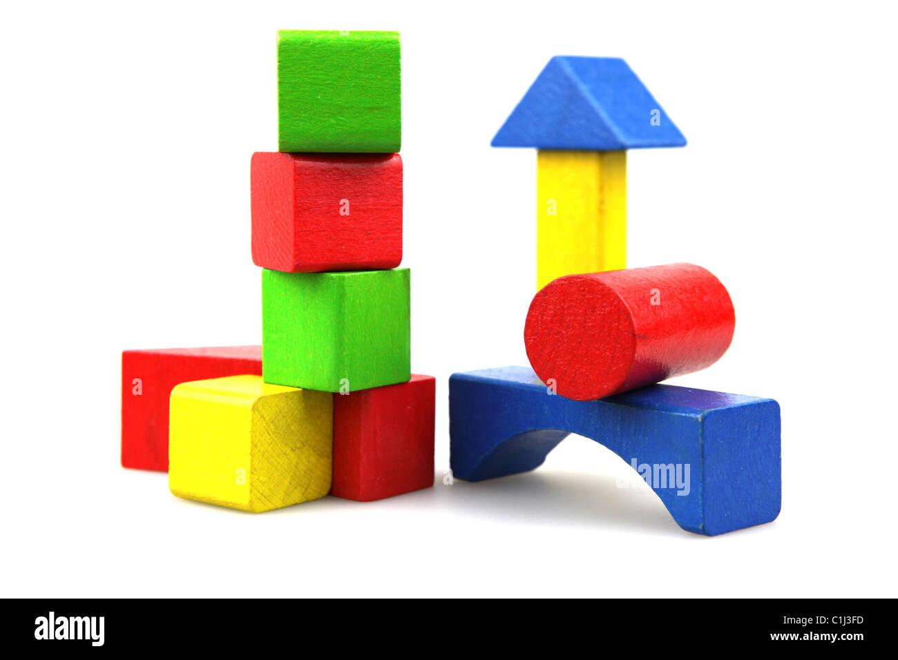 Wooden building blocks - Stock Image