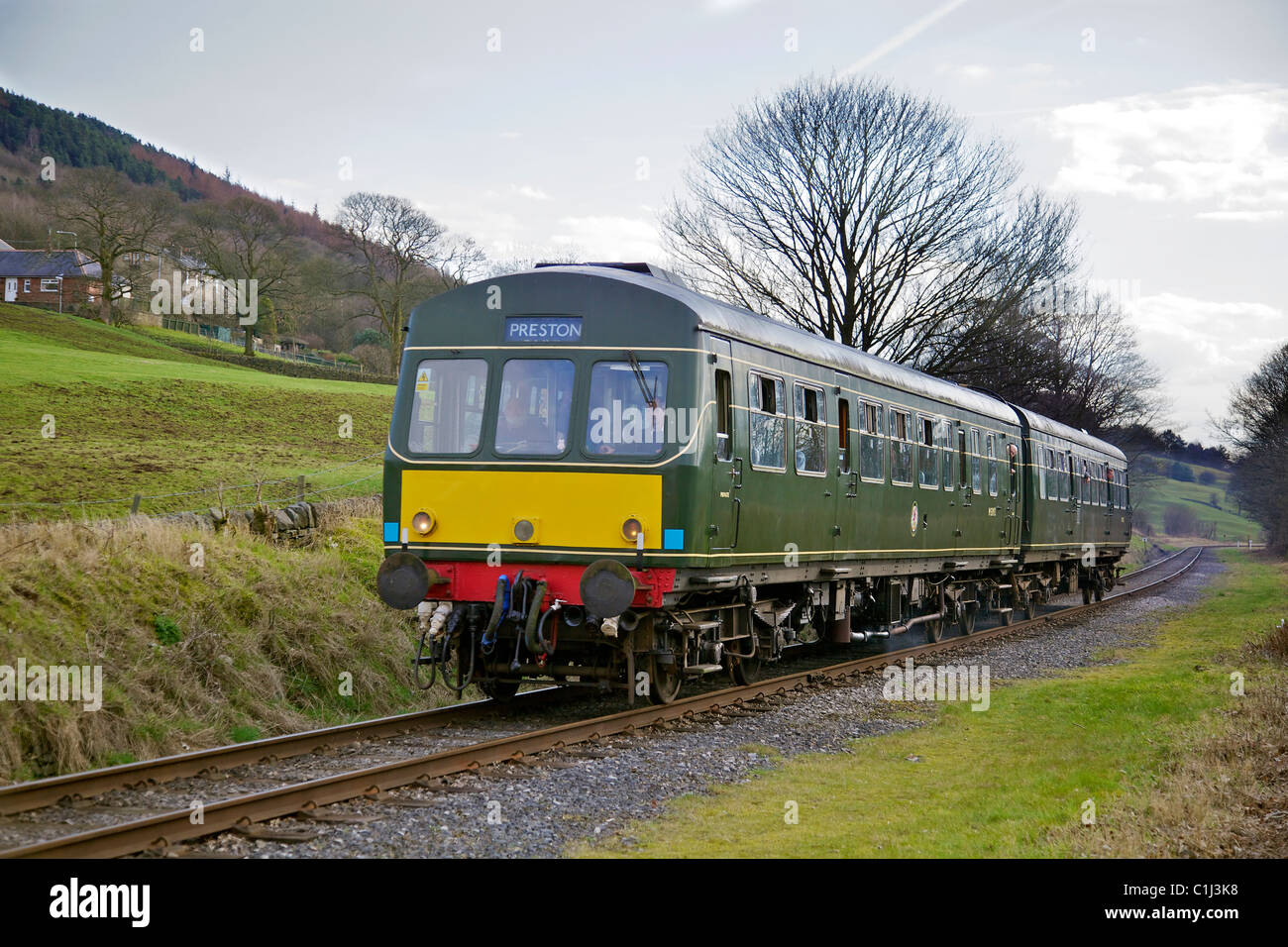 Diesel multiple unit train DMU on the East Lancashire Railway. - Stock Image