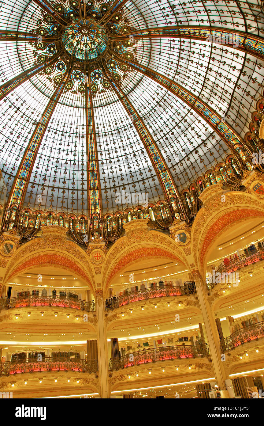 The roof dome in Galleries Lafayette in Paris. - Stock Image