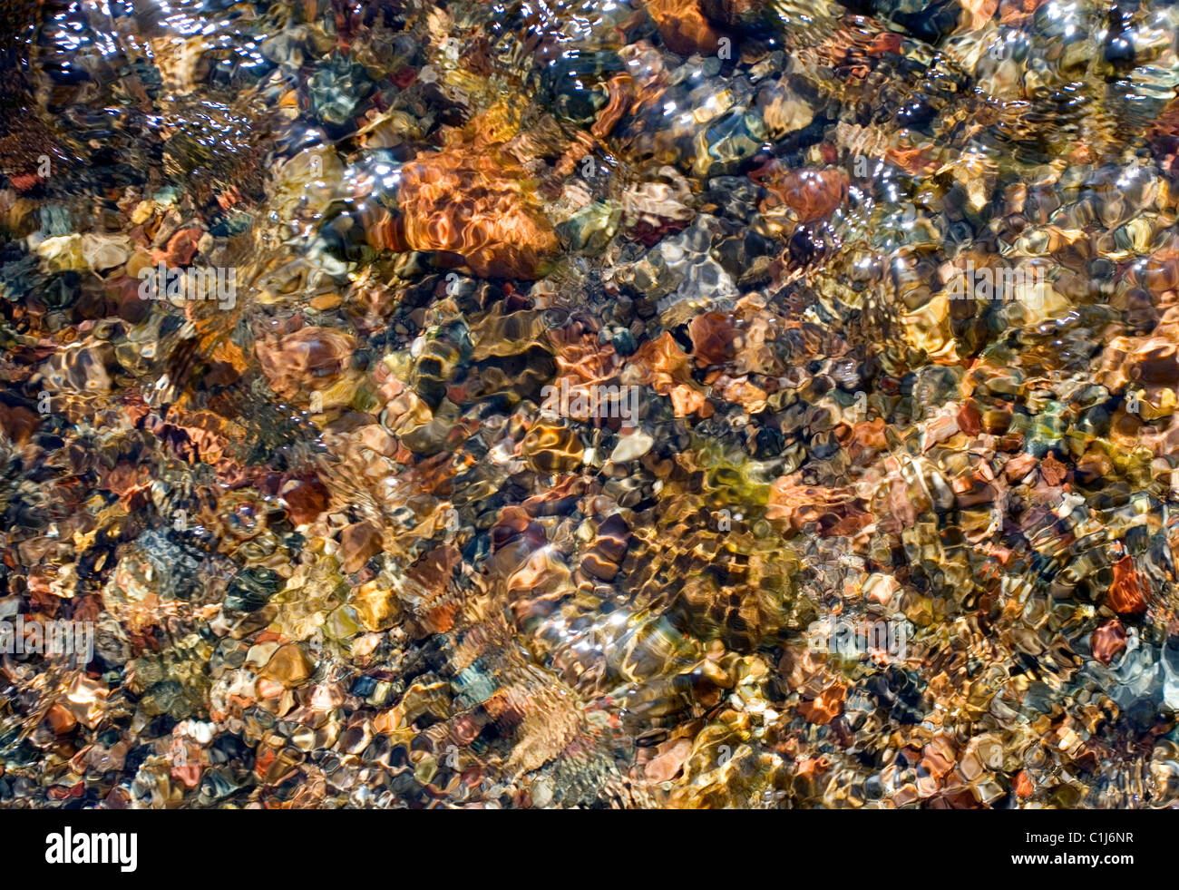 Looking straight down into a shallow stream of fresh cool water and colorful stones and pebbles. This stream is - Stock Image