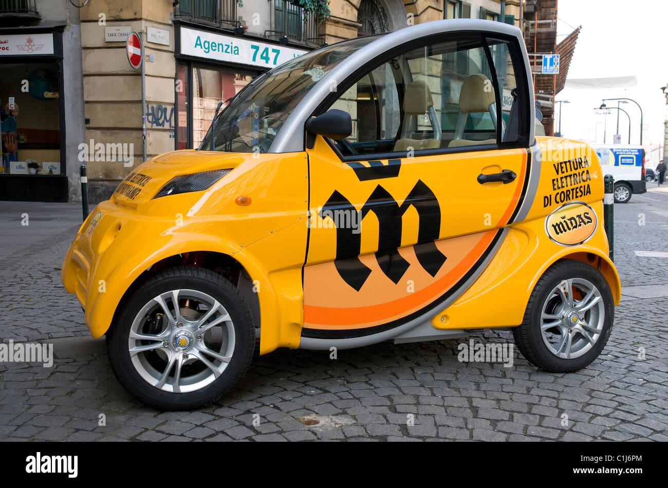 midas electric car, turin, italy - Stock Image