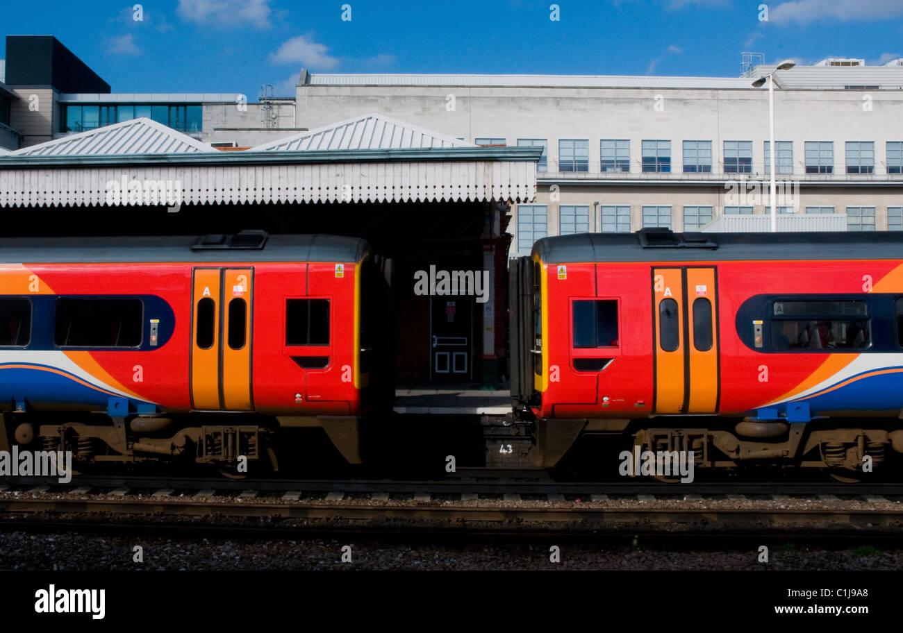 class 158 dmu's at nottingham midland station,uk - Stock Image