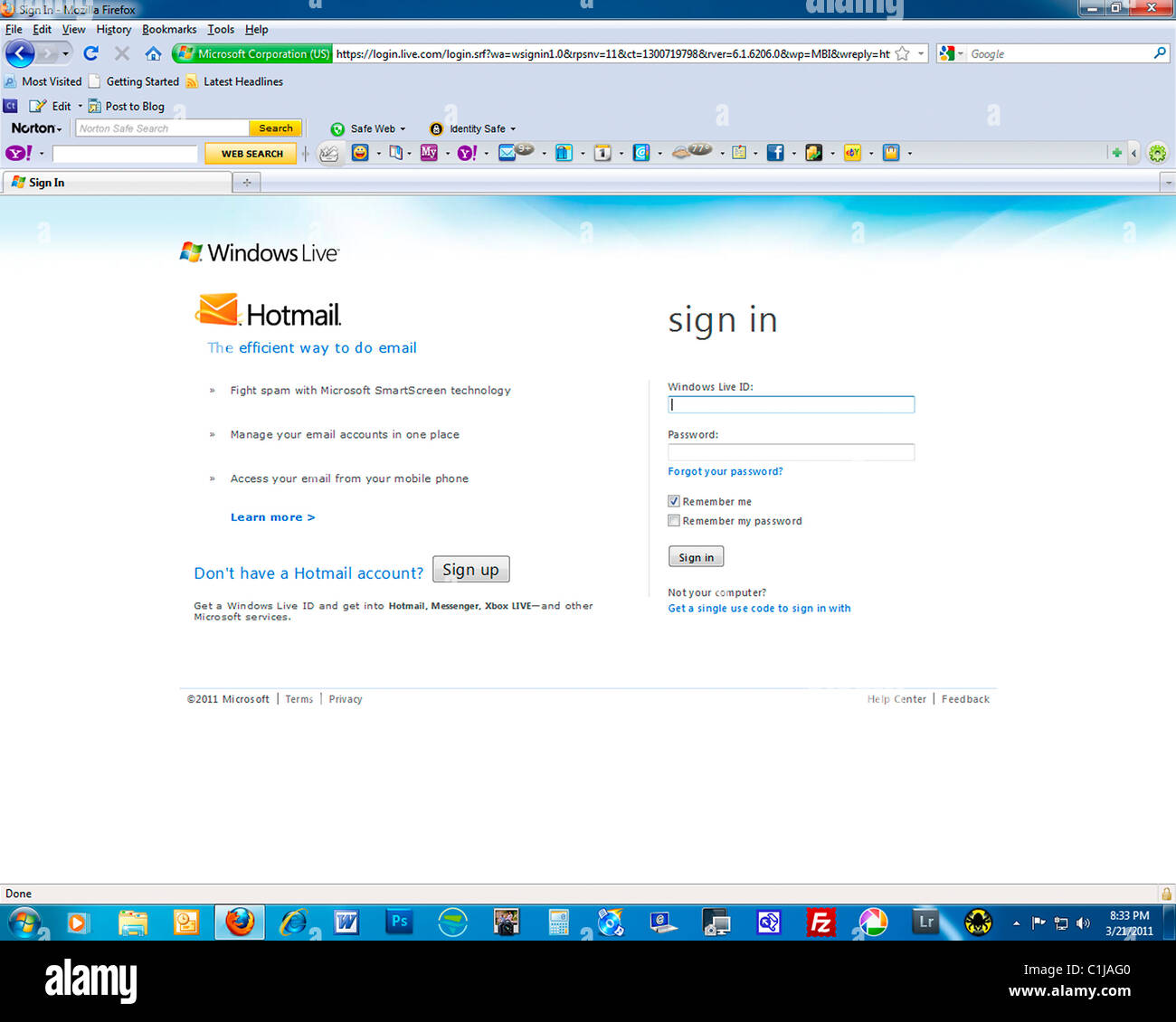 hotmail, email, Web site, Home Page, communication - Stock Image