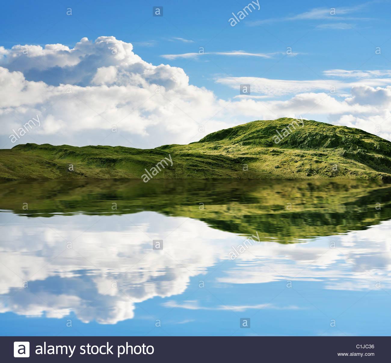 Rugged hill lake - Stock Image