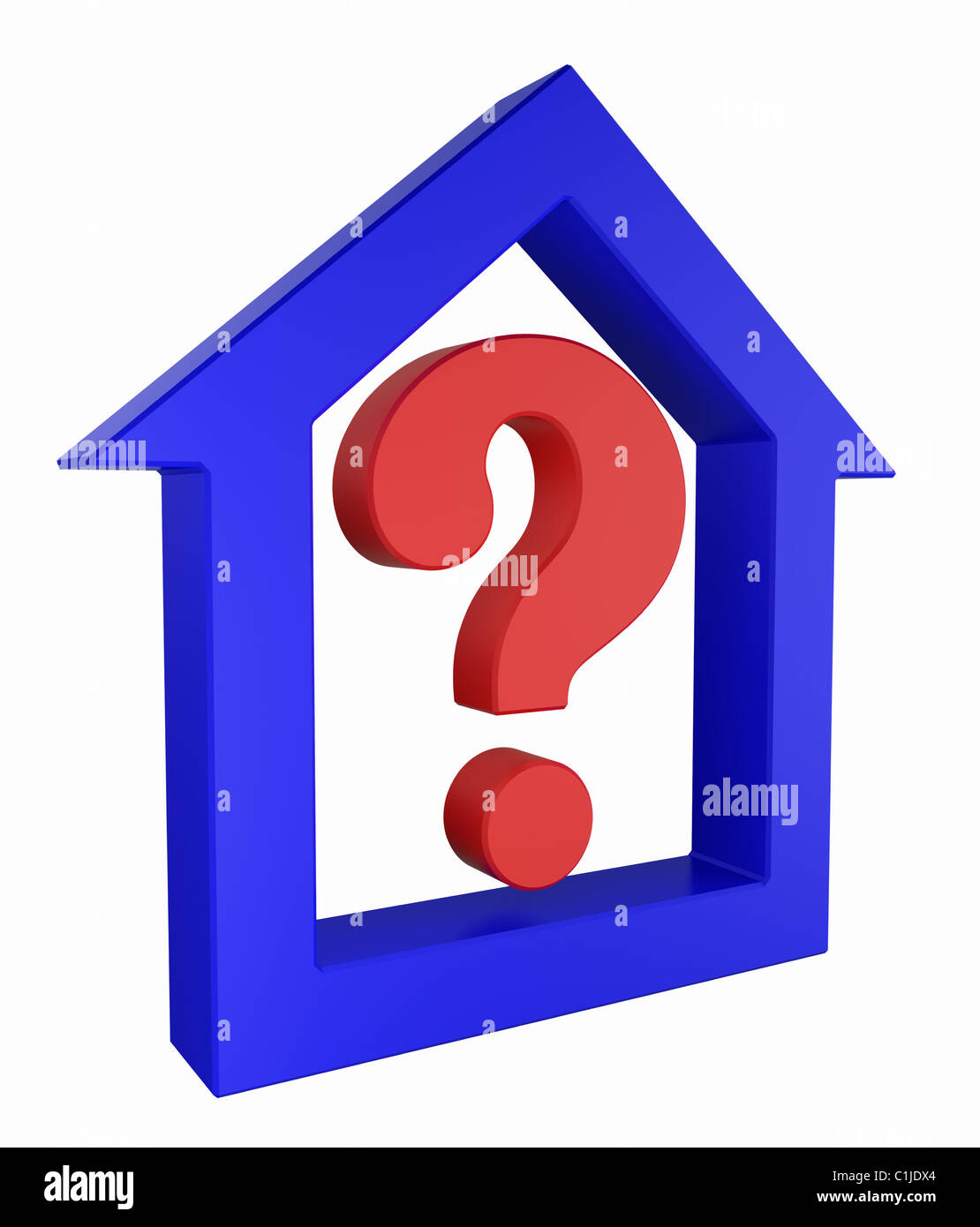 House and question sign icon - Stock Image
