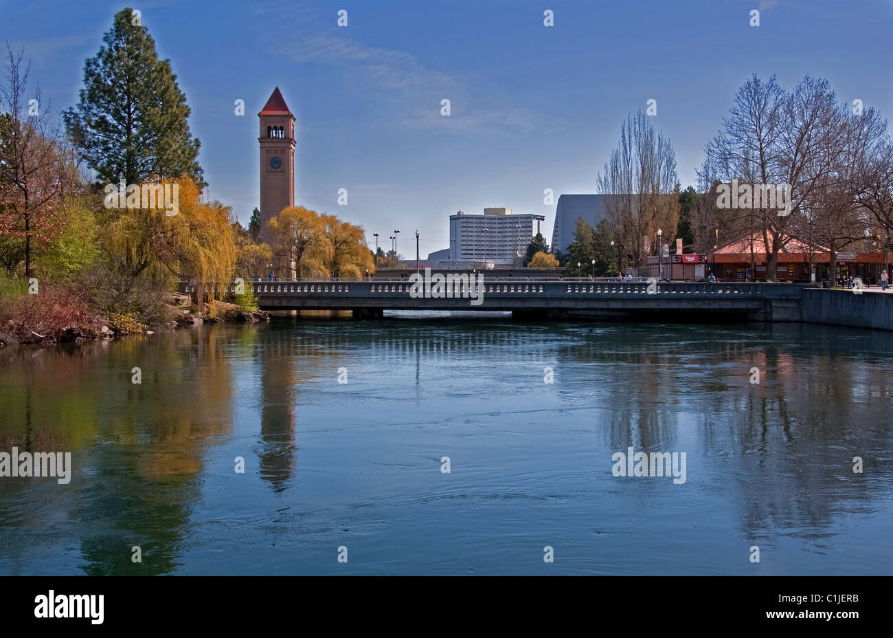 This landscape photo is of Spokane, Washington's Riverfront Park in the early spring. Huge weeping willow trees. Stock Photo