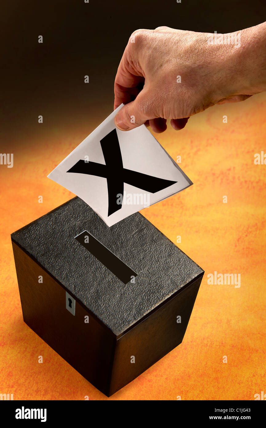 Voting.Ballot box and hand of voter.Voting paper. - Stock Image