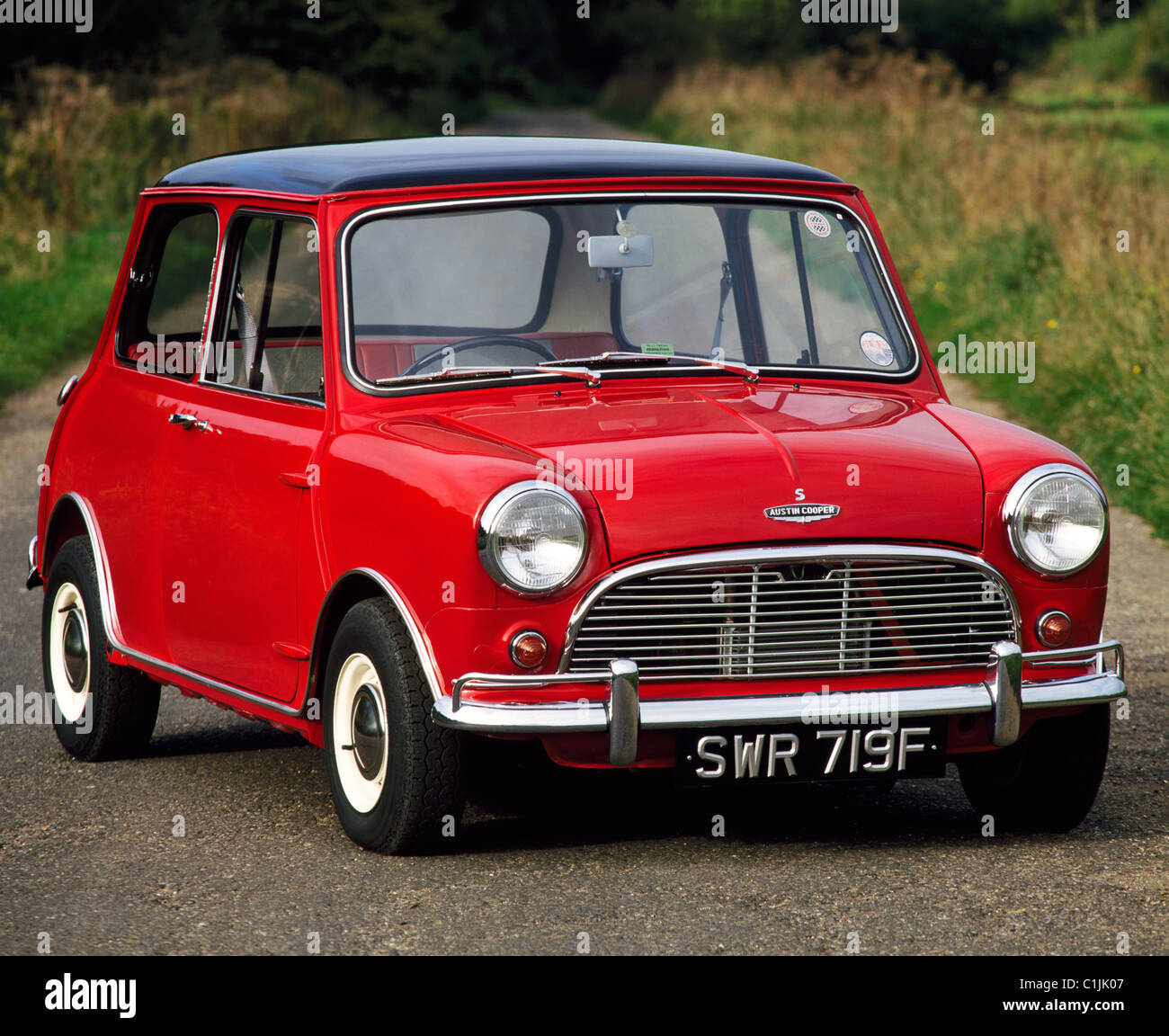 Red Mini Cooper S MKI 1275cc From 1967 Stock Photo