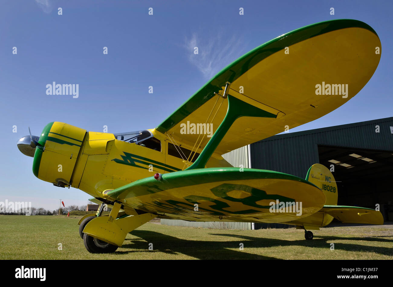 beechcraft staggerwing vintage aircraft - Stock Image