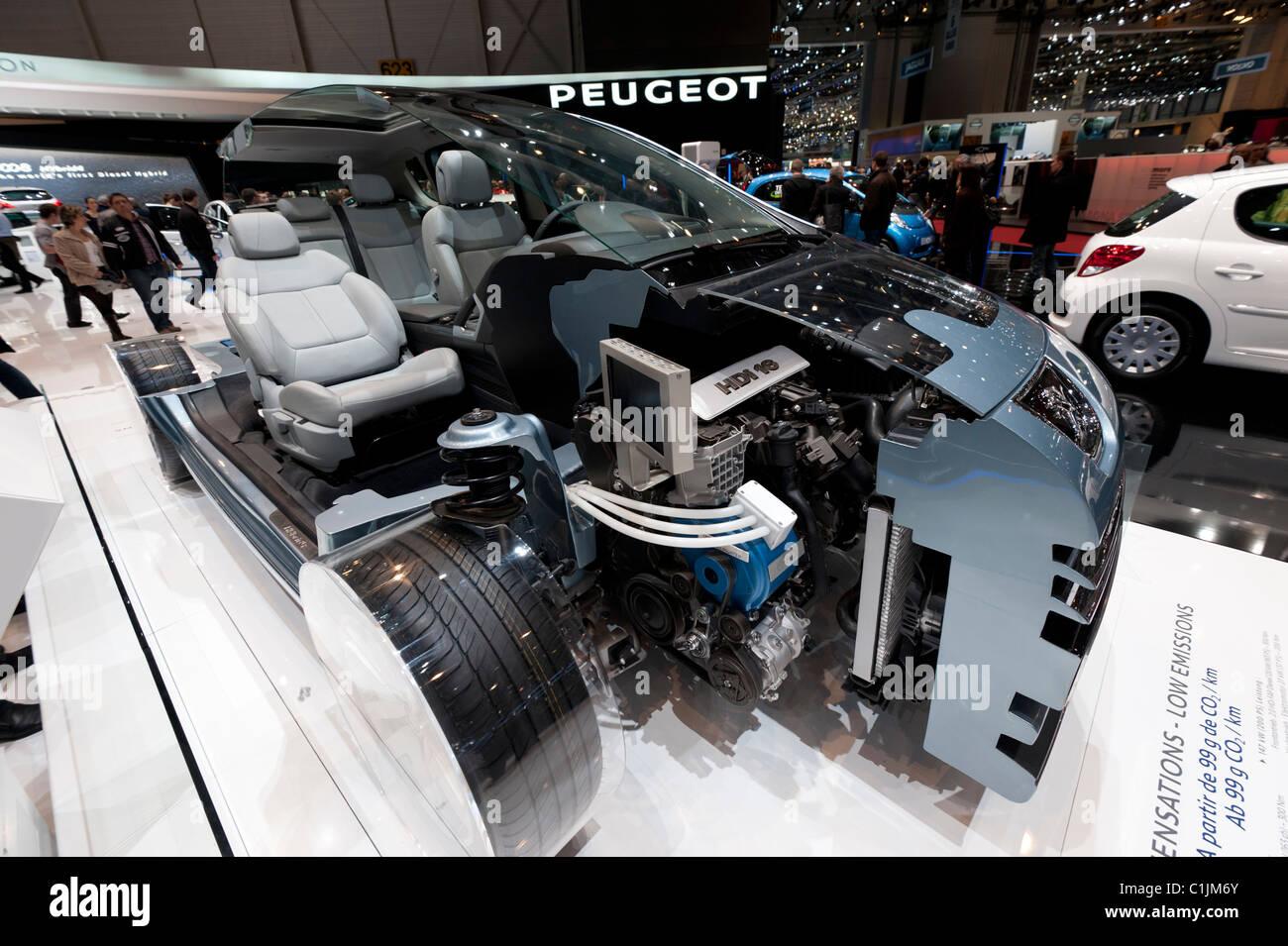 Cut away model of Peugeot 308 with new super efficient engine at Geneva Motor Show 2011 Switzerland - Stock Image
