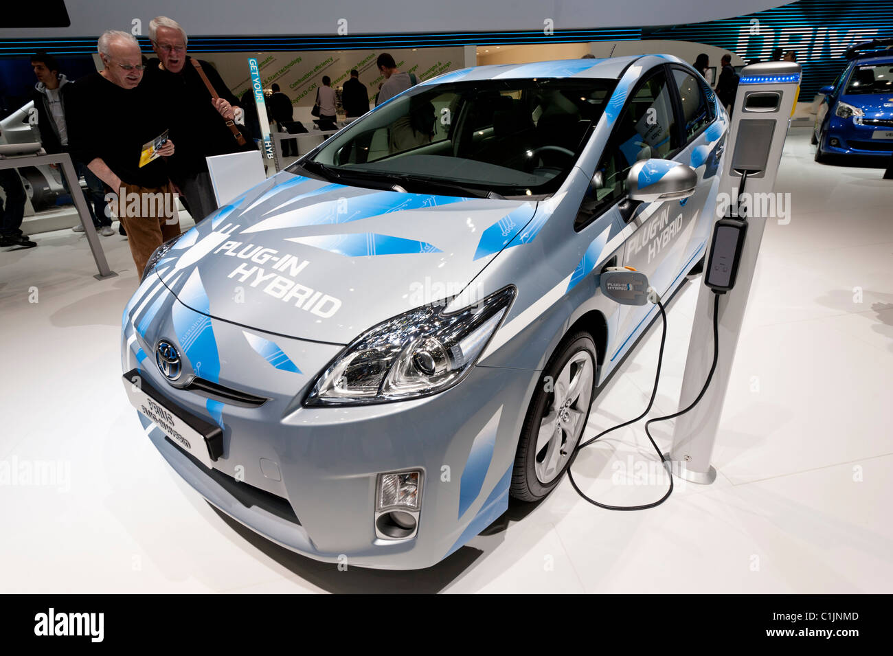Toyota Prius plug-in Hybrid car at the Geneva Motor Show 2011 Switzerland - Stock Image