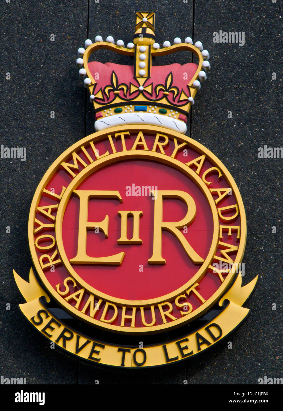 Badge, emblem of the Royal Military Academy Sandhurst - Stock Image