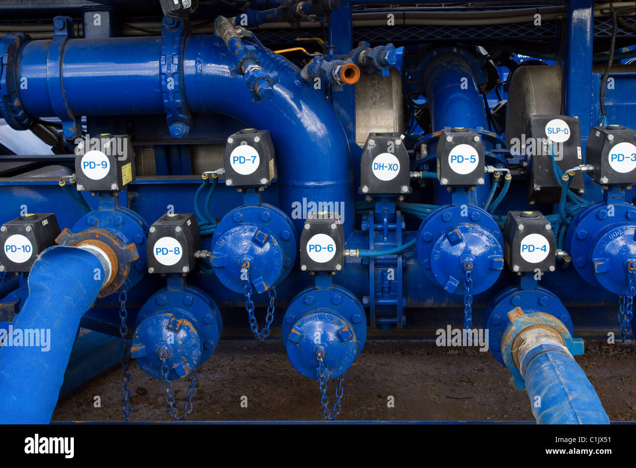 Cuadrilla Resources drilling pumping equipment at Shale Gas Drill Site,  Presse Hall Farm, Singleton, Blackpool, - Stock Image