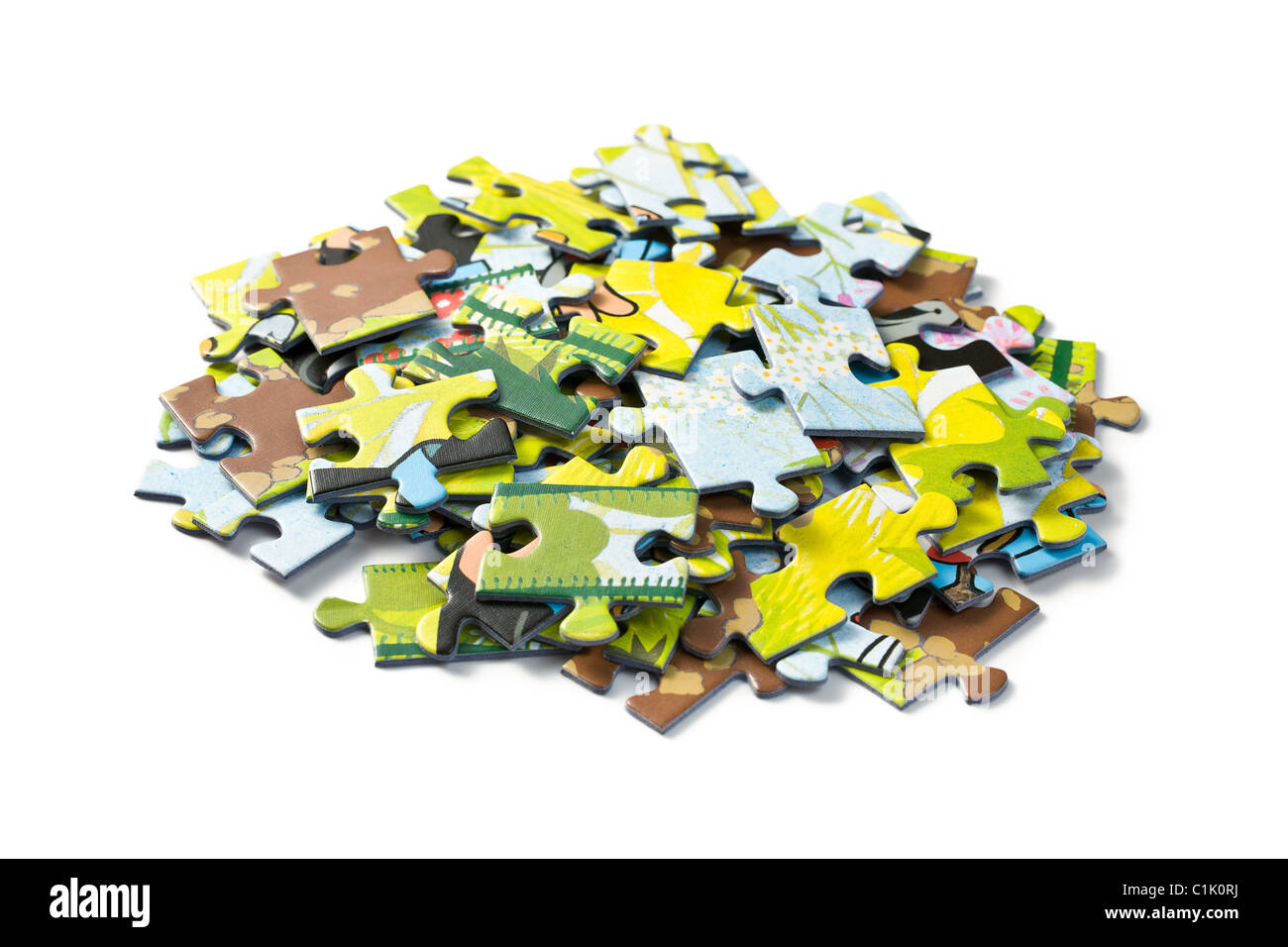 jigsaw puzzle on white background - Stock Image