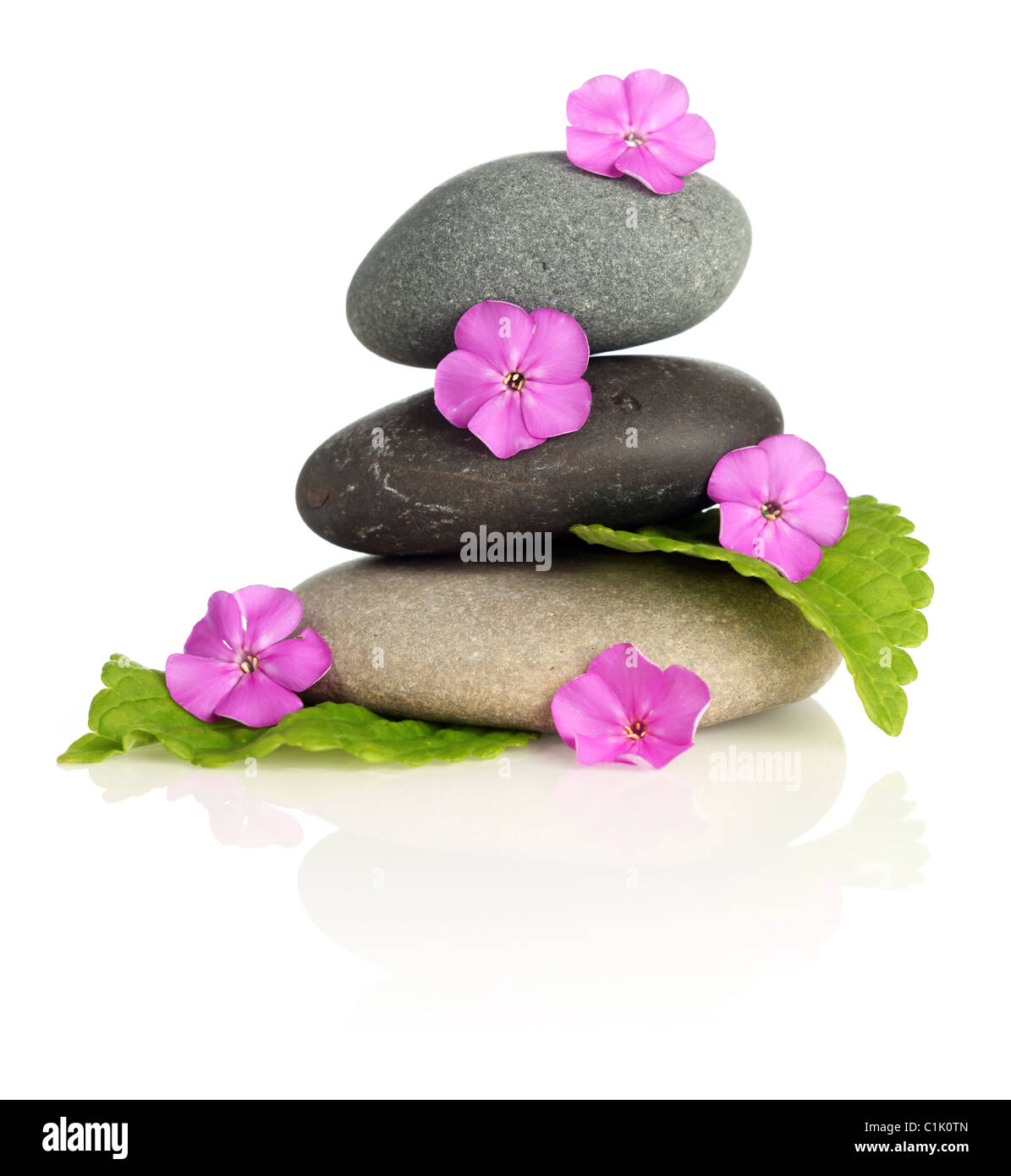 Stacked stones with flowers - Stock Image
