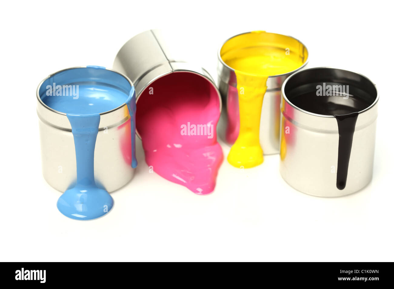 CMYK cans of paint Stock Photo