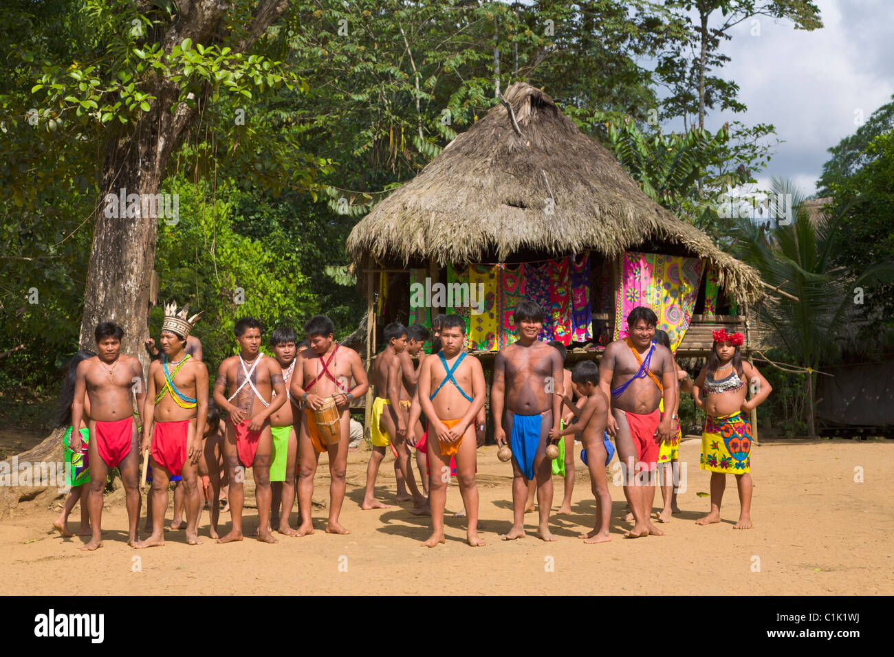 Villagers of the Native Indian Embera Tribe, Embera ...