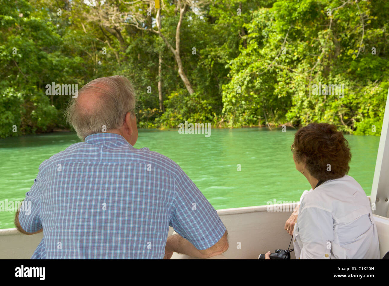 Tourists on an Eco Tour boat trip, Gatun Lake, Panama - Stock Image