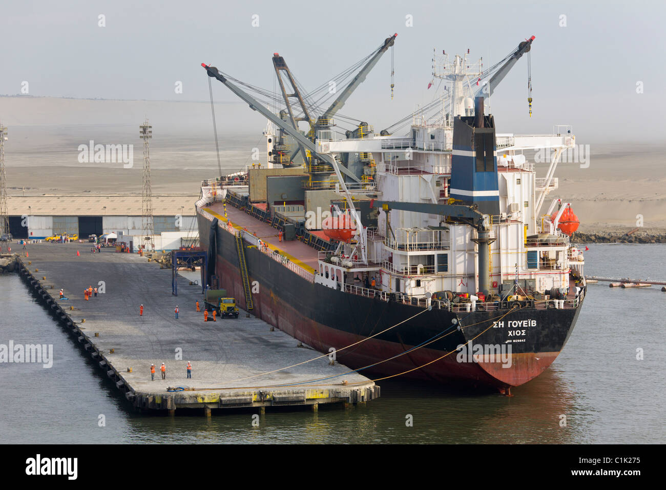 Cargo ship docked at the port of Salaverry, Trujillo, Peru - Stock Image