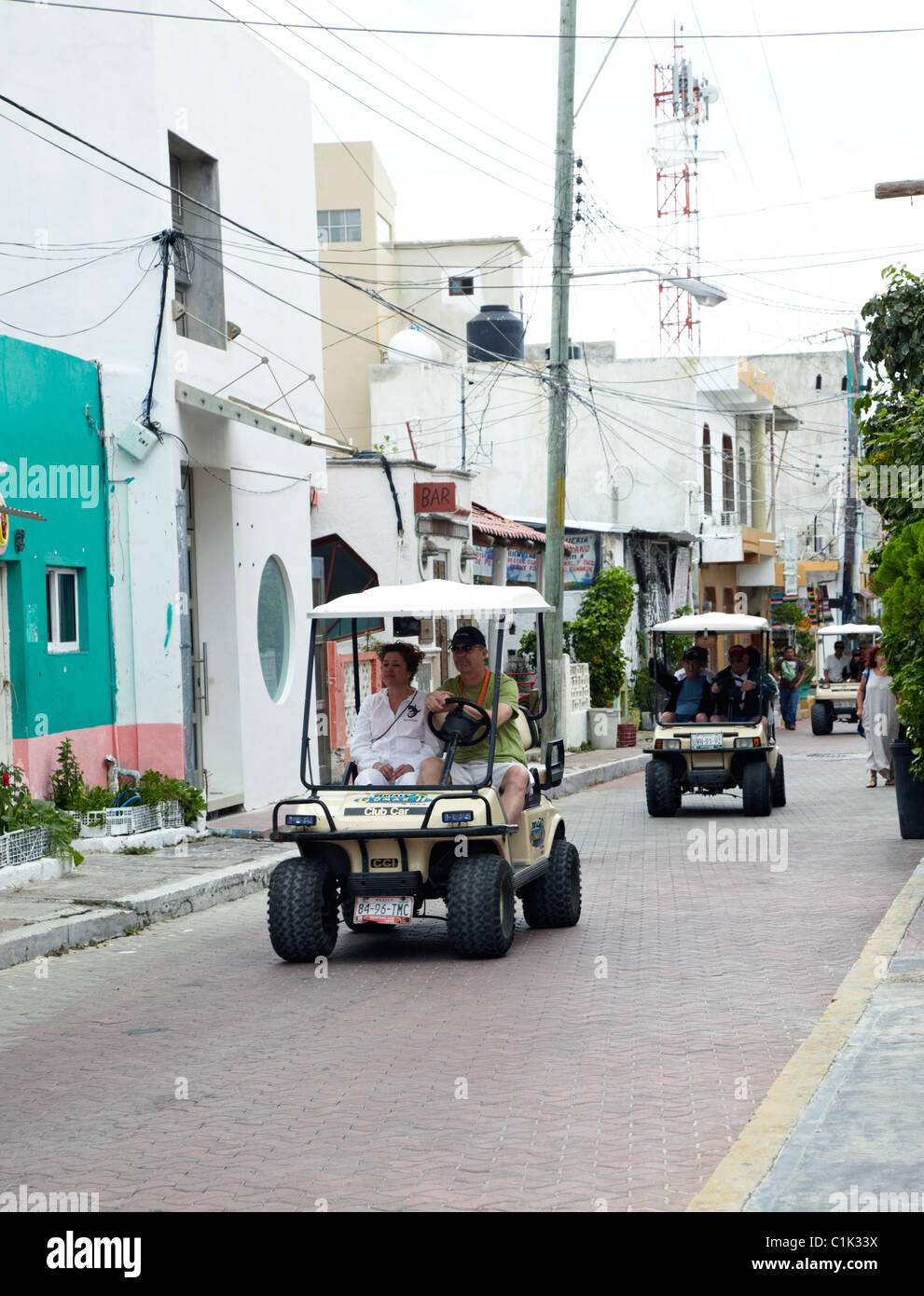 Golf Buggy Cars In  Isla Mujeres Yucatan Mexico - Stock Image