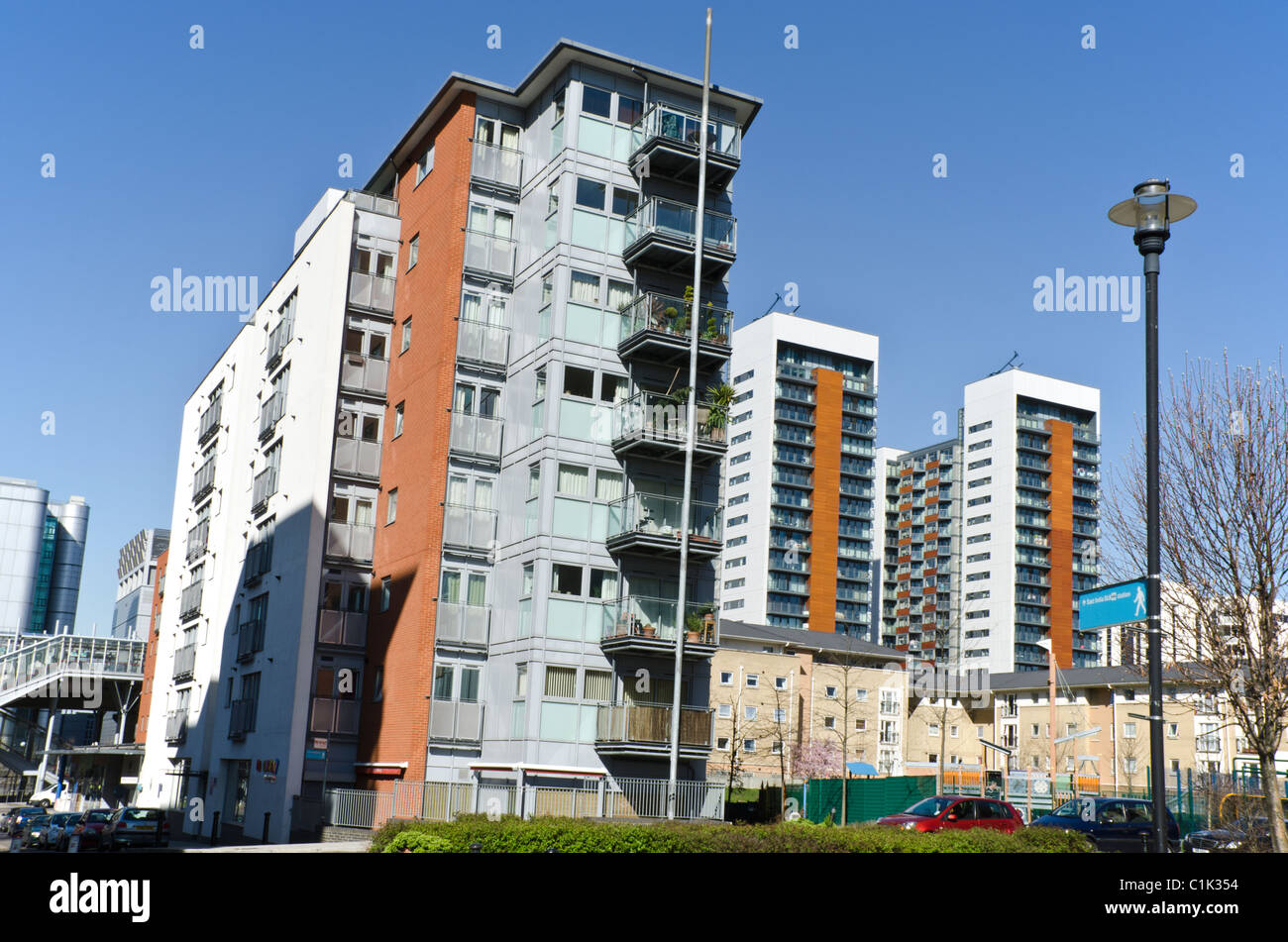 Explorers Court, East India Dock Apartment blocks Poplar E14, London. - Stock Image