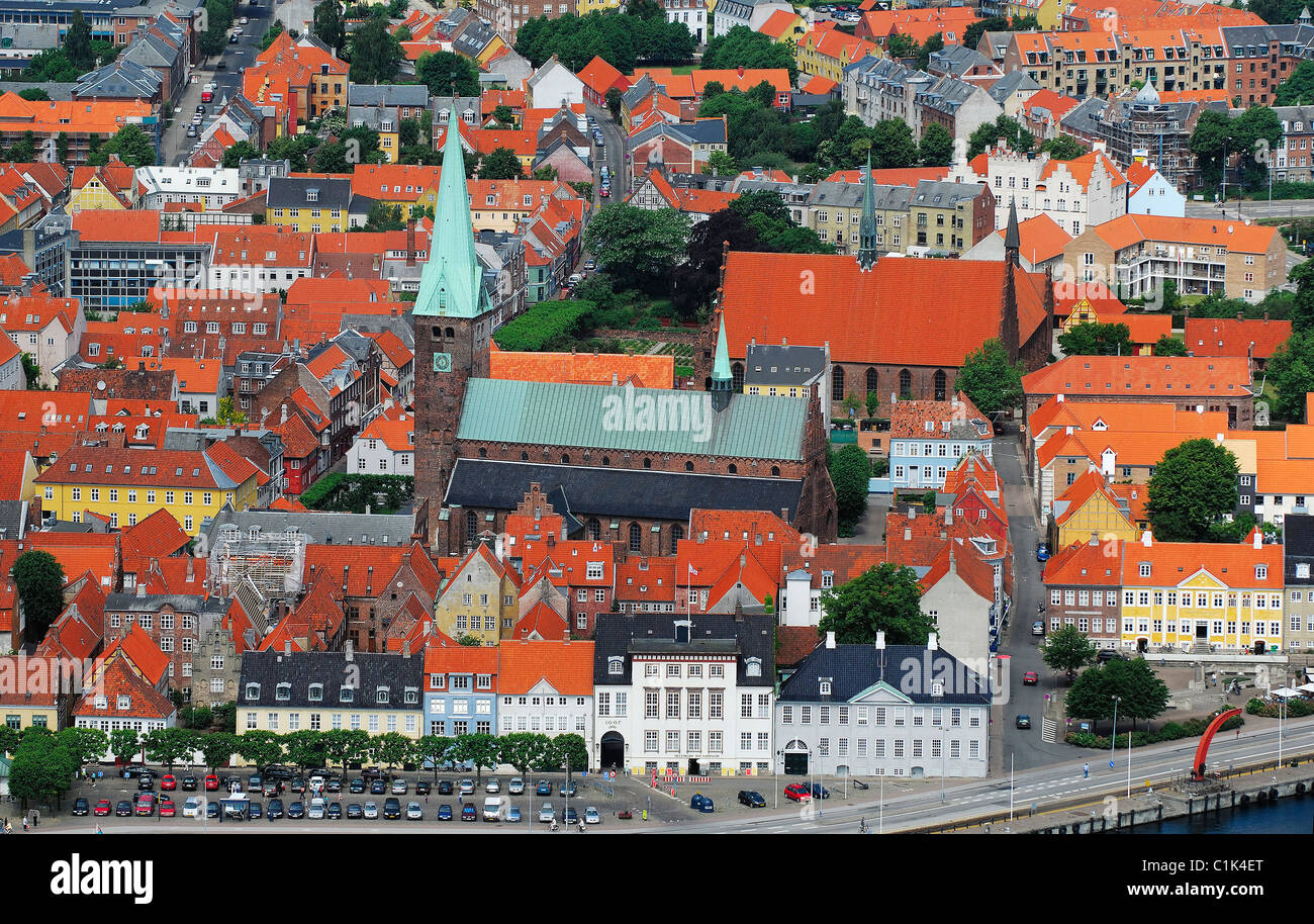 Denmark, Sjaelland Island, Elsinore, St Olaf Cathedral (aerial view) - Stock Image