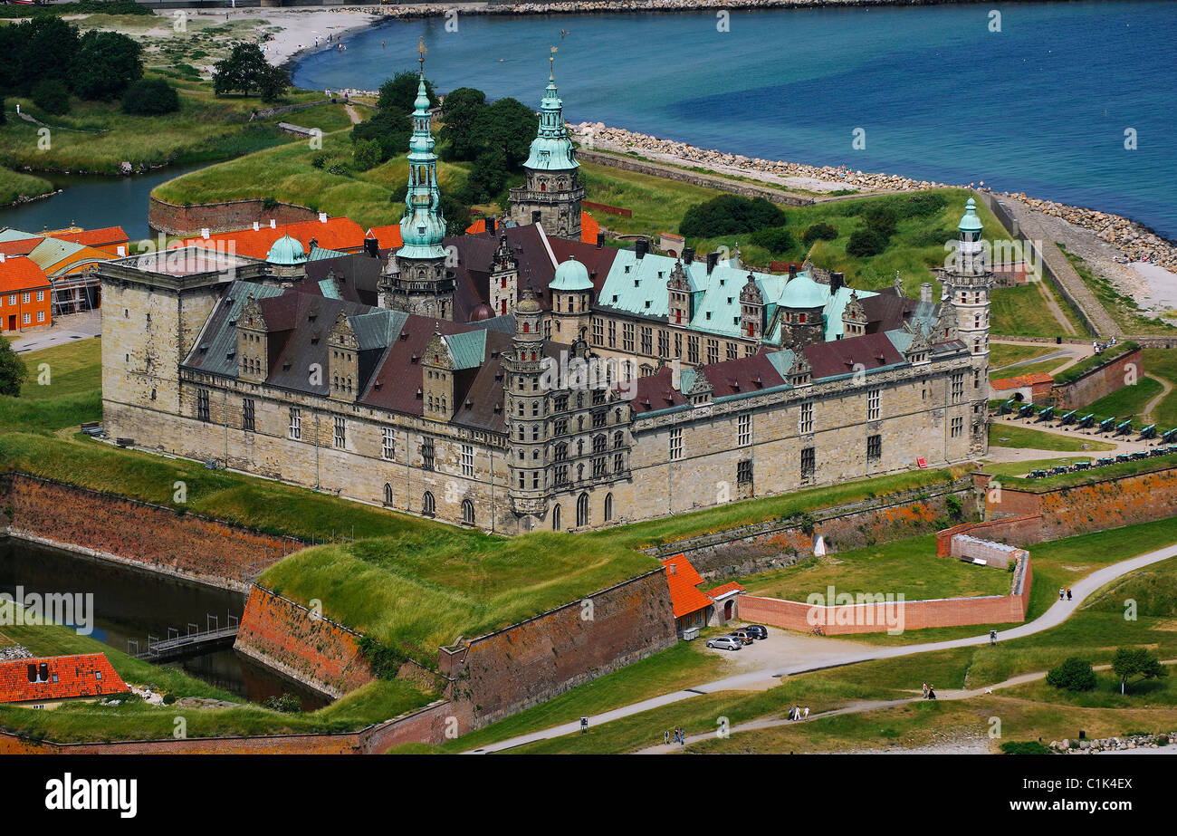 Denmark Sjaelland Island Elsinore on the Oresund Strait Kronborg castle listed as World Heritage by UNESCO the castle - Stock Image