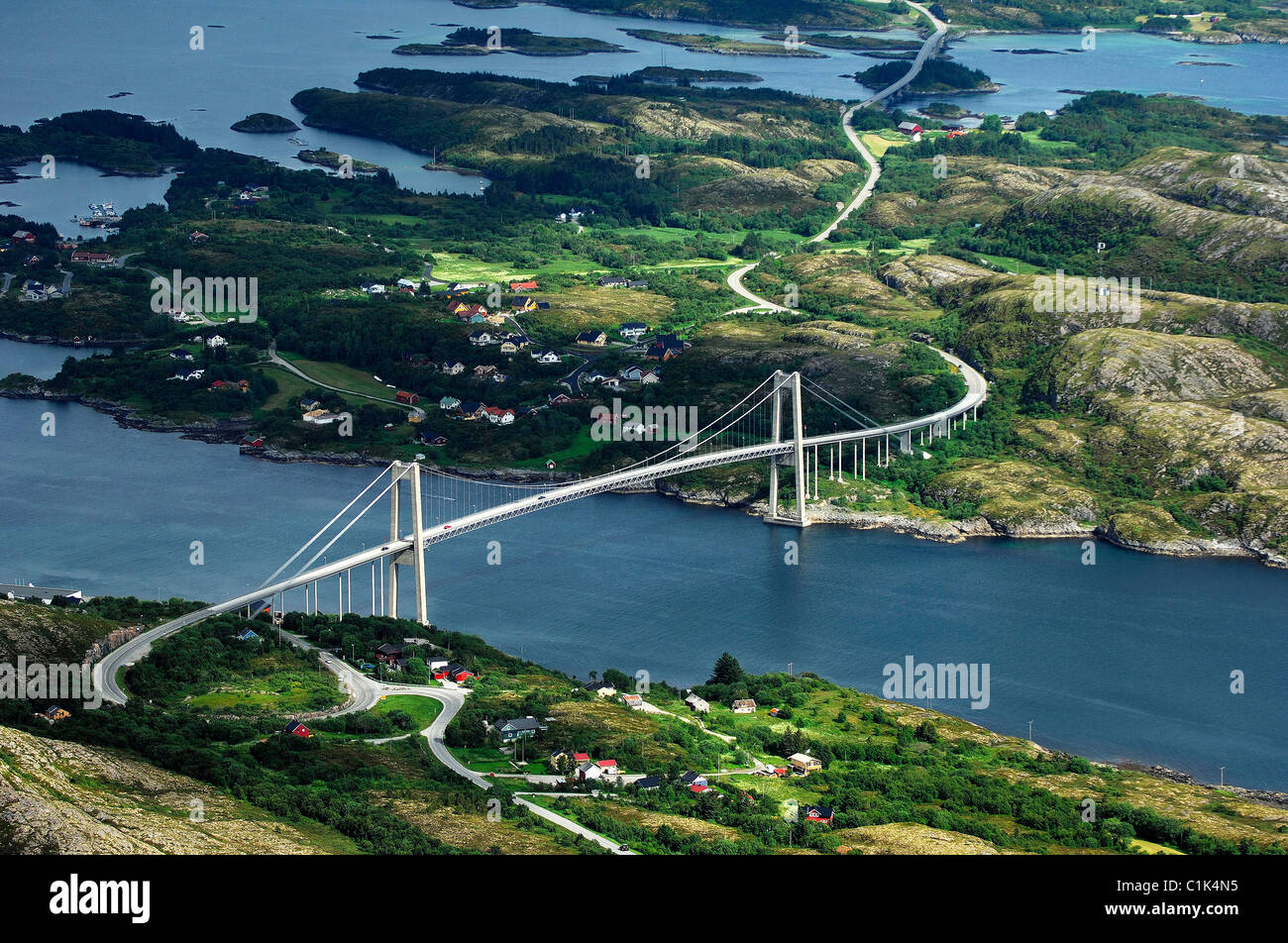 Norway, Nord-Trondelag, Vikna Island, suspension bridge around Rorvic (aerial view) - Stock Image