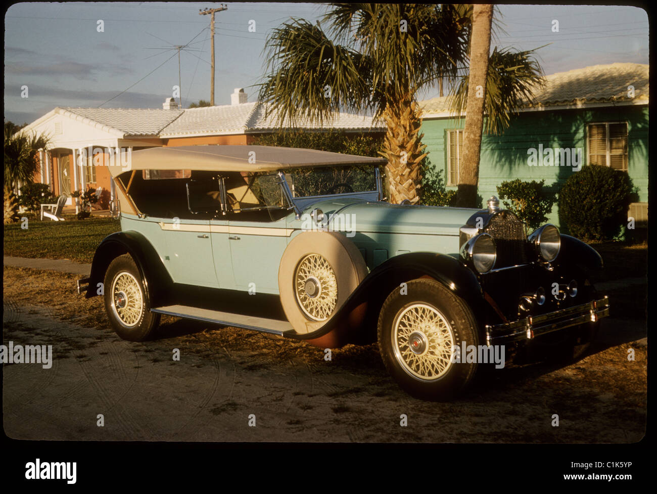 Antique parked car in Florida - Stock Image