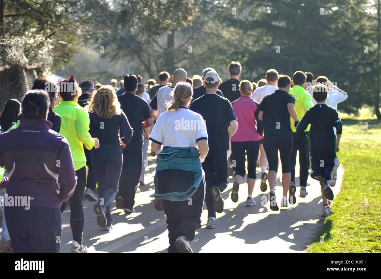 Runners in Brueton parkrun, Solihull, UK - Stock Image