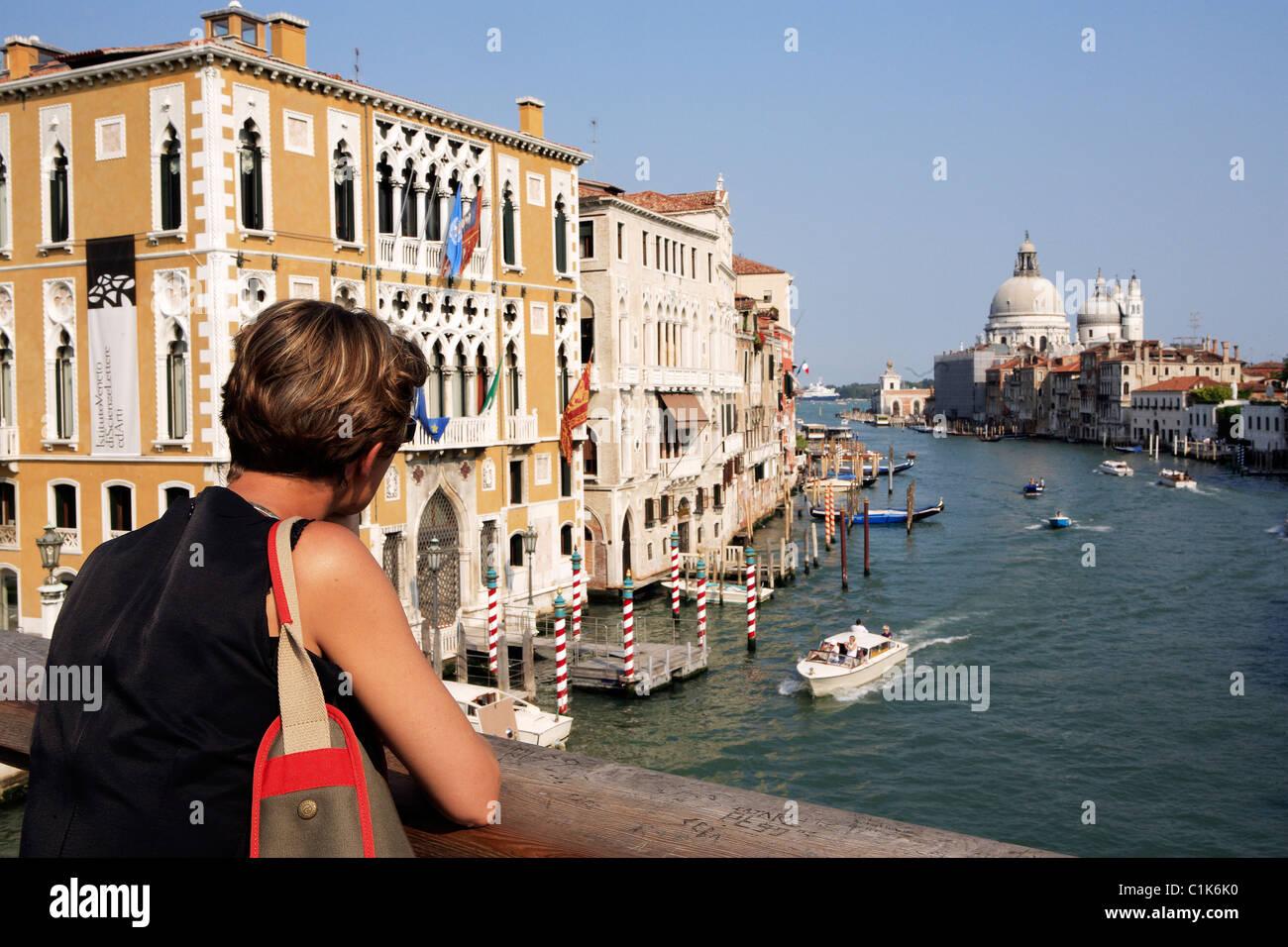 Italy, Veneto, Venice, the Grand Canal view from Academia Bridge - Stock Image