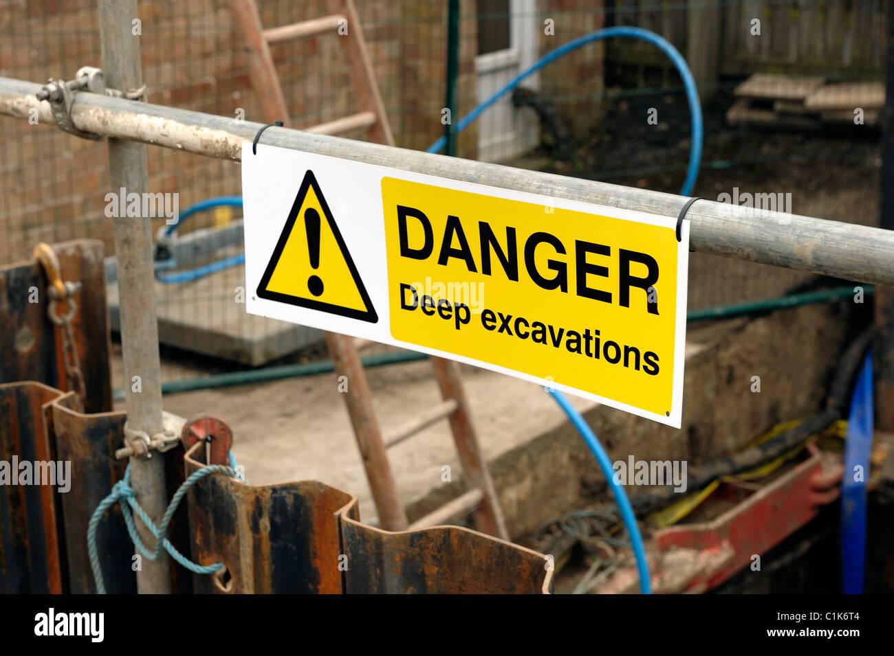Danger Deep Excavations Warning sign - Stock Image