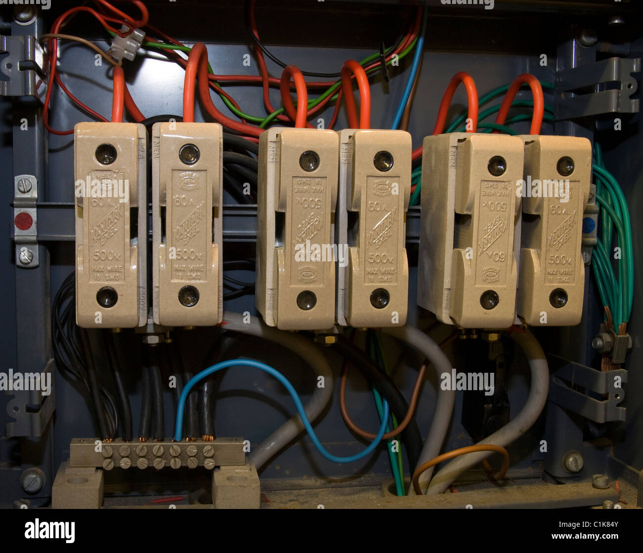 Wire Connector Terminal Block Stock Photos Ceramic Wiring Electricity Mains Fuse Old Type Domestic Connectors Board Image