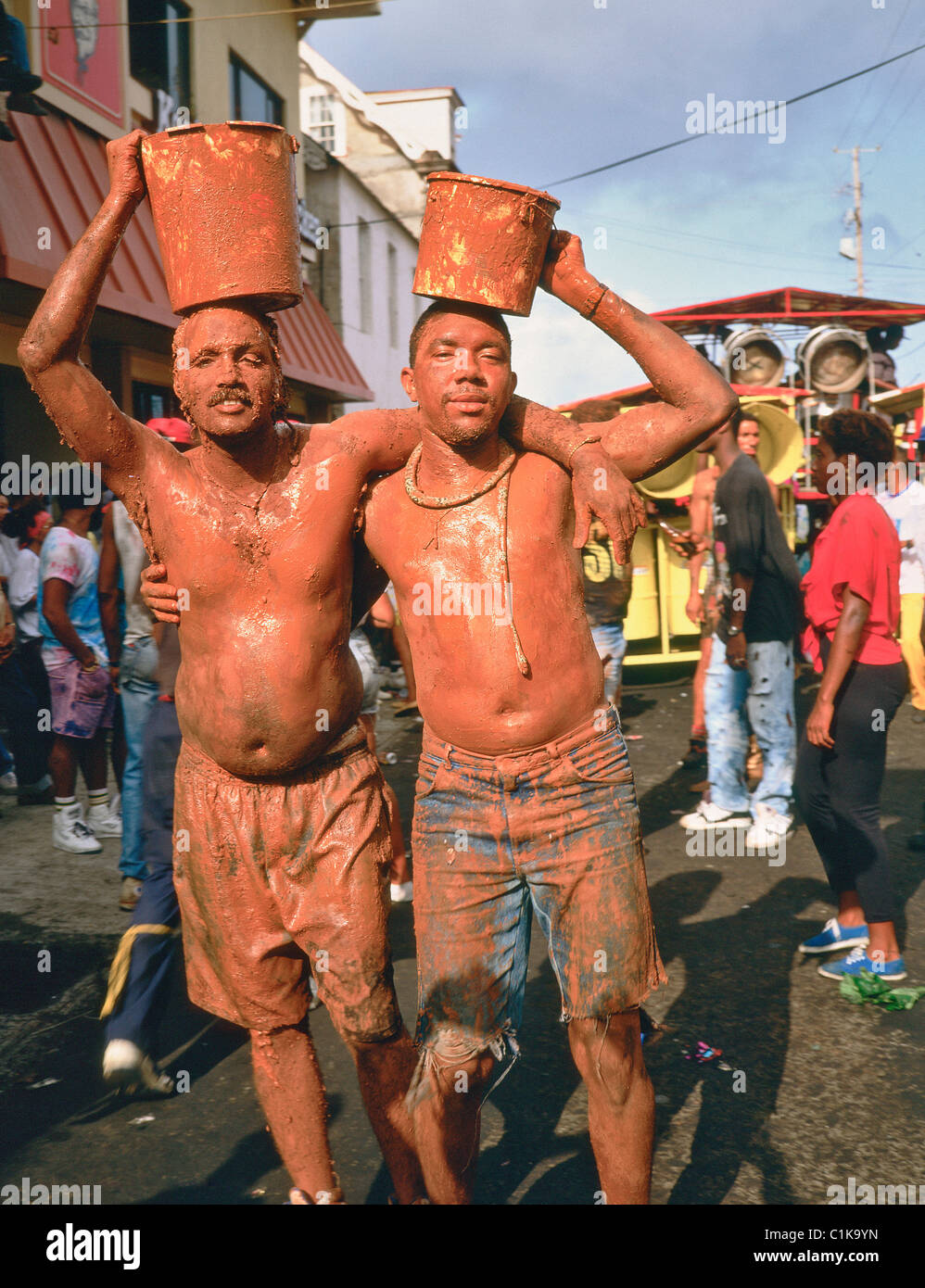 Grenada Island, St George's, Mardi Gras parade for carnival, The painted jab-jabs (local name) - Stock Image