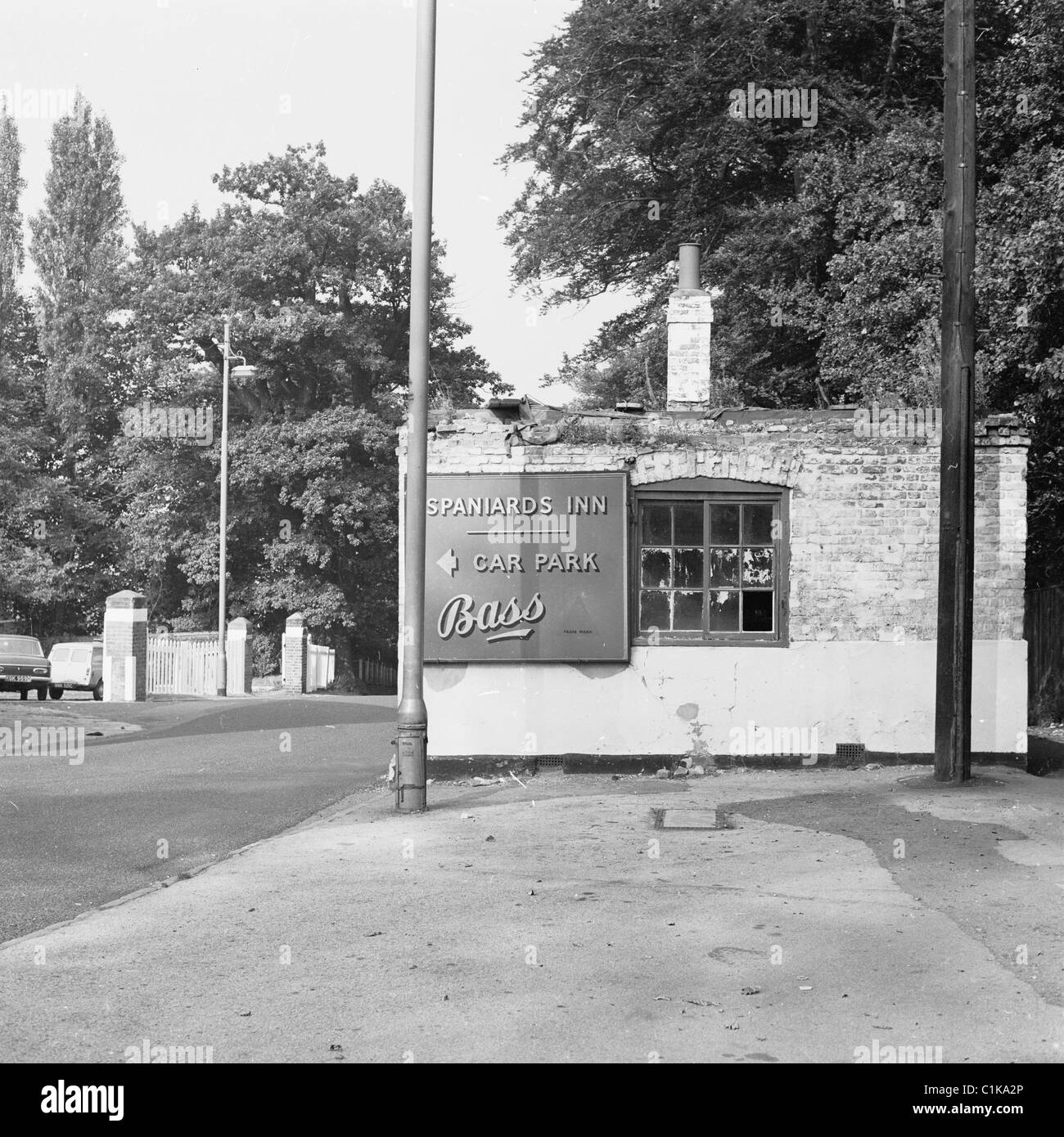 1960s. London. The old toll house opposite side the historical pub, The Spaniards Inn, taken before the building - Stock Image