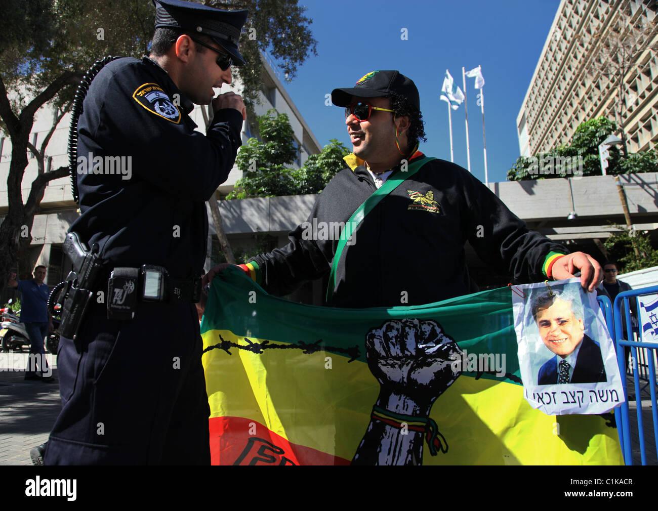 Supporter of former Israeli President Moshe Katsav in Tel Aviv court Israel - Stock Image