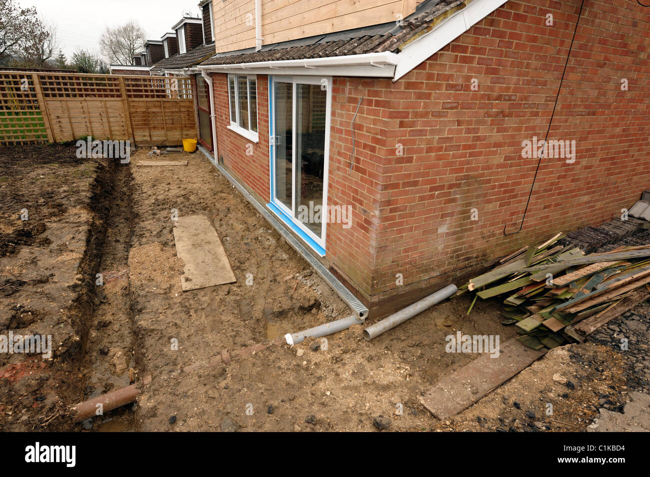 House extension building site - Stock Image