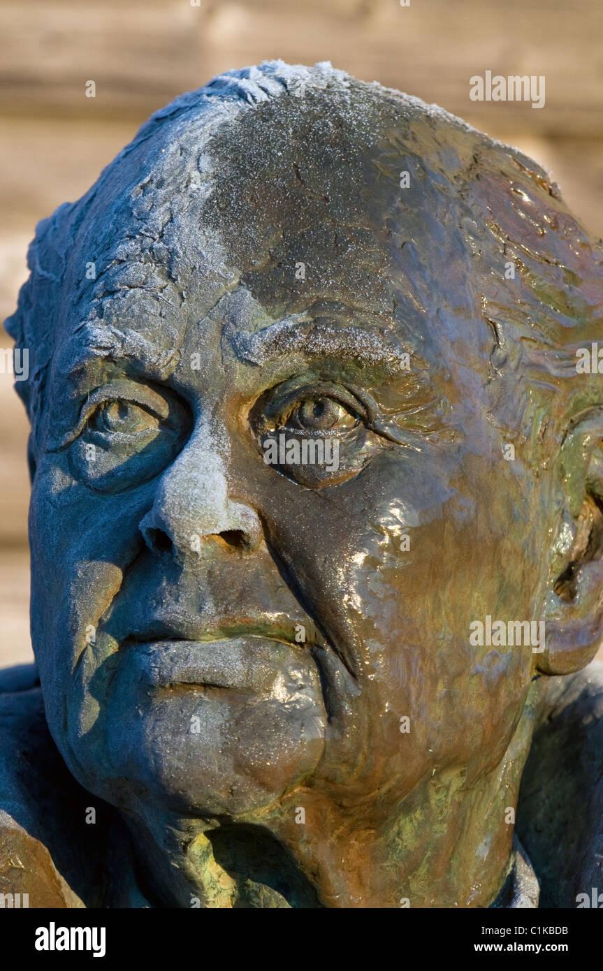 peter scott,statue,bust,main obervation hide,caerlaverock wwt,solway firth,scotland Stock Photo