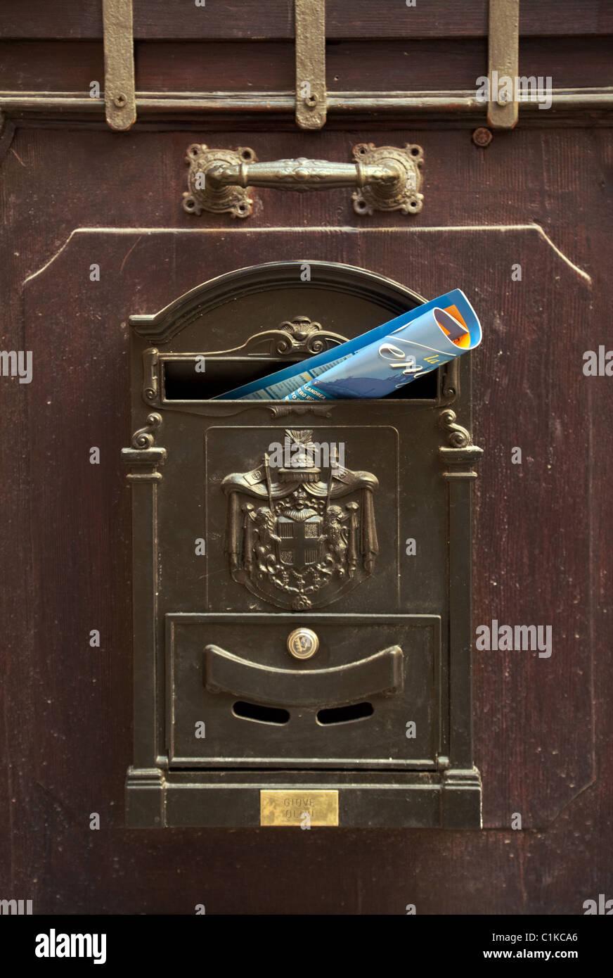 Italian mailbox with mail, Venice, Italy - Stock Image