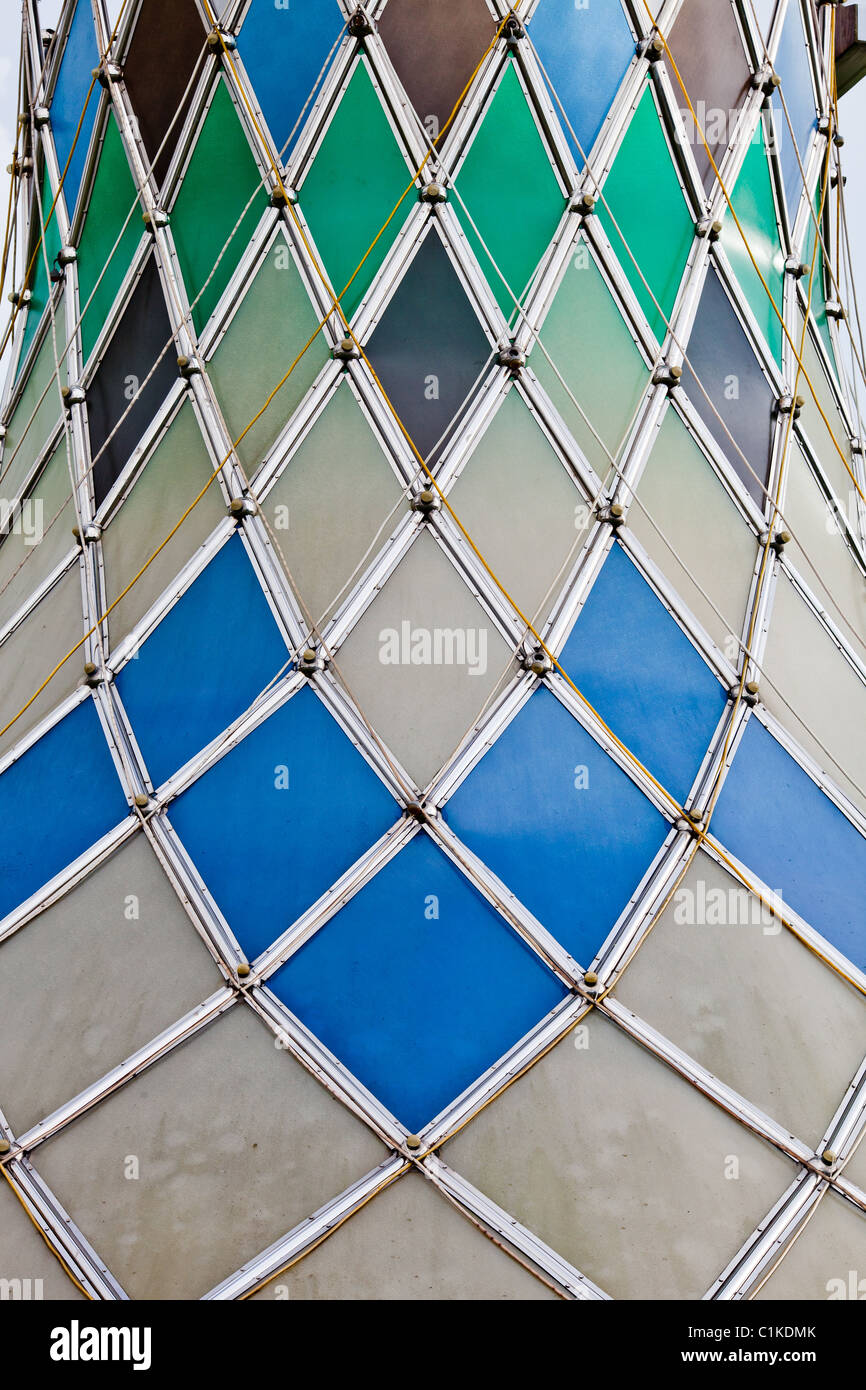 Diamond pattern on tower, Miri, Sarawak. - Stock Image
