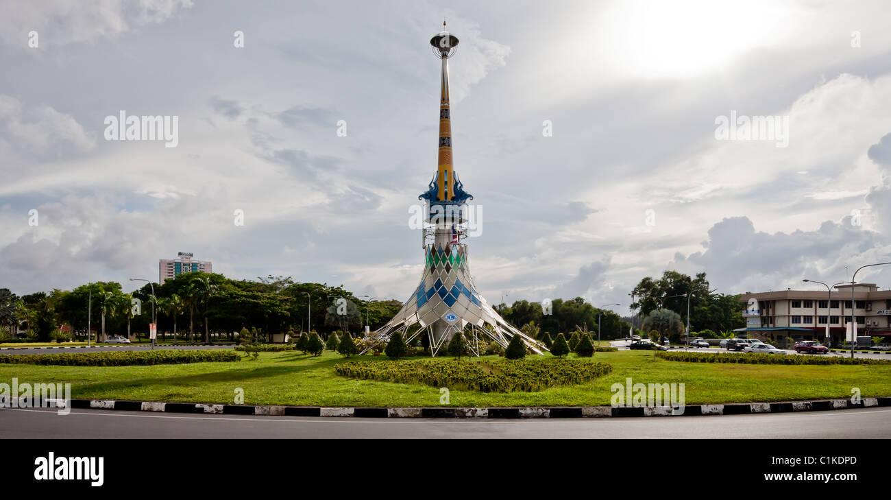 Roundabout tower near Miri City Fan, Sarawak. - Stock Image