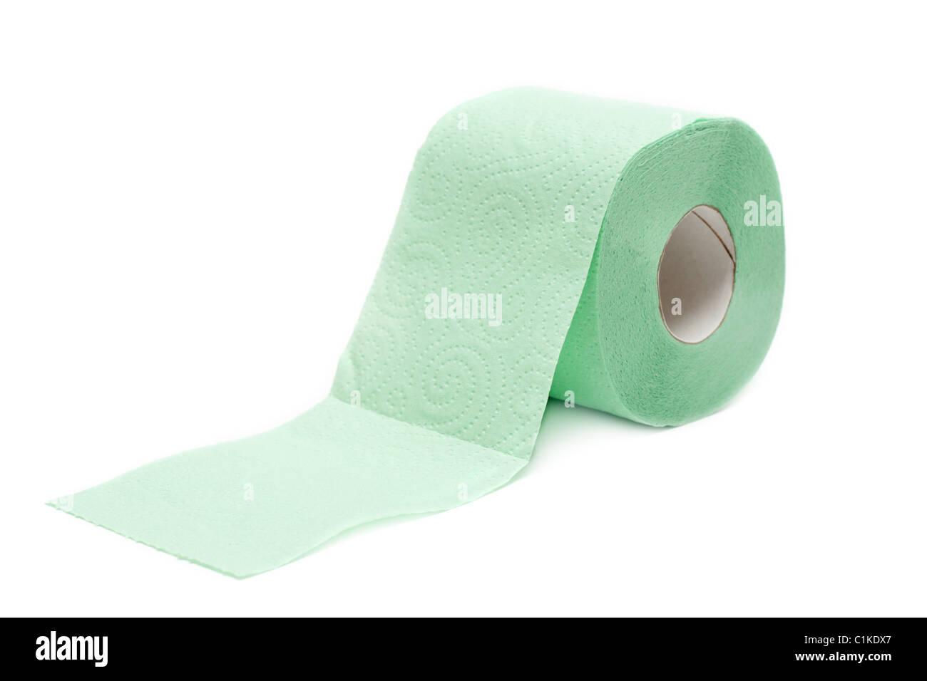 Roll of the green two-layer toilet paper - Stock Image