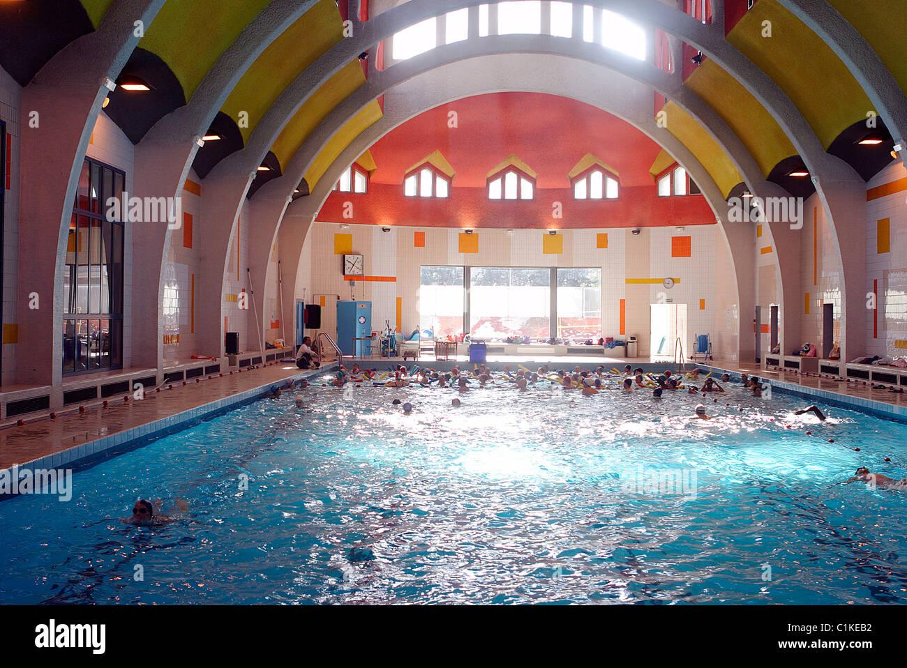 Hotel De La Butte france, paris, swimming pool of la butte aux cailles stock