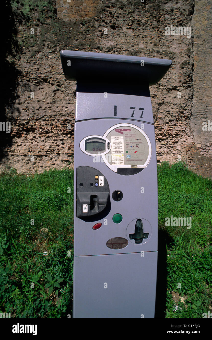 italy, rome, parking meter - Stock Image