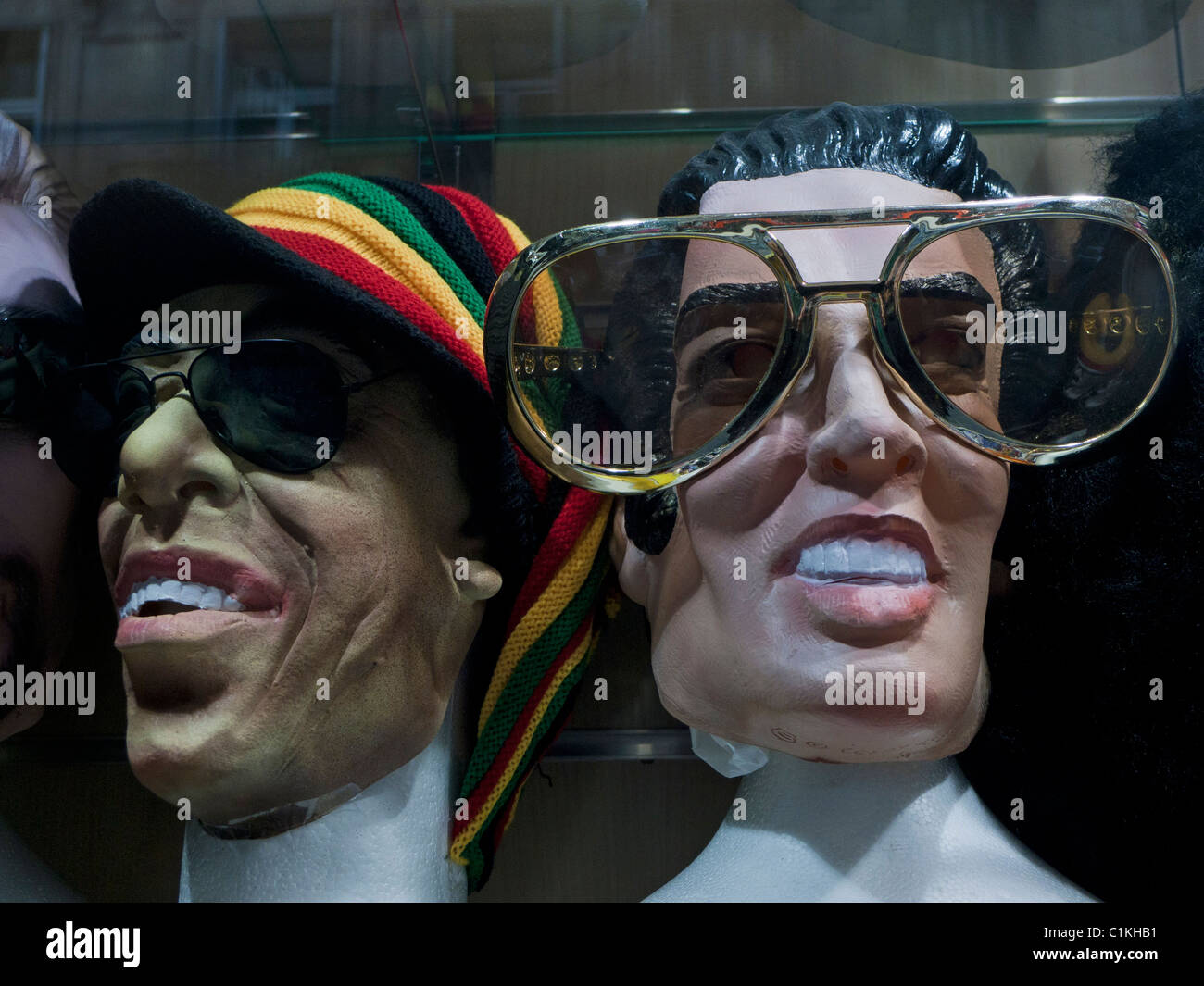 Comical rock and pop star masks in shop, Paris, France - Stock Image
