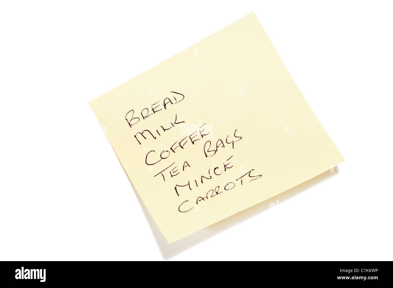 Shopping List On A Post It Note - Stock Image